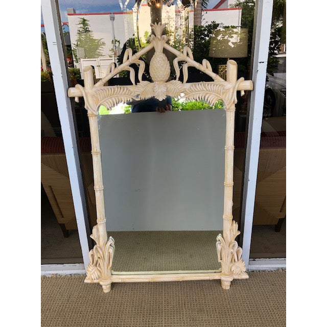 Stunning Hollywood Regency lacquered Pineapple faux bamboo wall mirror by Gampel-Stoll. This Chinoiserie style mirror has...