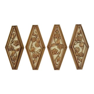Vintage Mid Century Syroco Wall Art - 4 Panels For Sale