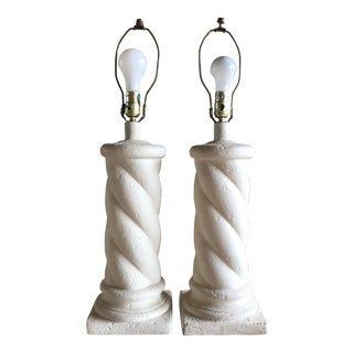 Vintage Michael Taylor Style Plaster Spiral Column Twist Table Lamps - A Pair For Sale