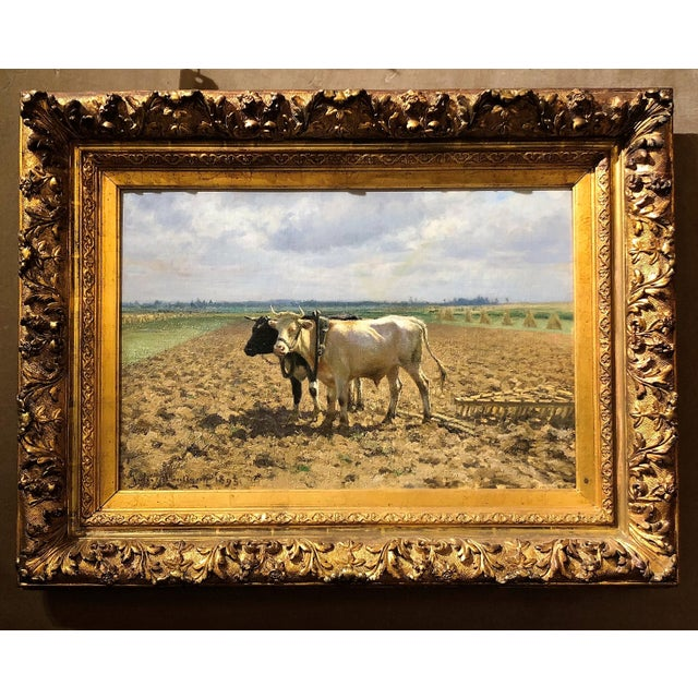 "Antique 19th Century Landscape Oil on Canvas, ""Ploughing the Fields,"" dated 1893 by Belgian Artist Jules Leon Montigny, 1847-1899. For Sale - Image 4 of 4"