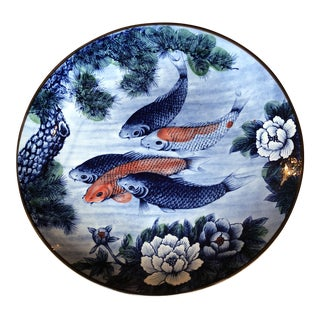 Asian Ceramic Koi Fish Plate