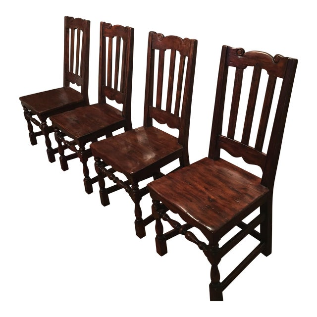 California Spanish Mahogany Dining Chairs - Set of 4 - Image 1 of 4