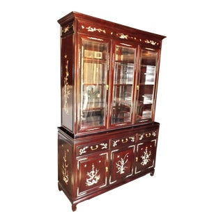 1990's Vintage Chinese Rosewood With Mother of Pearl Inlay Dining Room Hutch For Sale