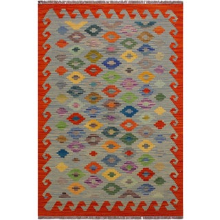 Contemporary Kilim Amee Rust/Blue Hand-Woven Wool Rug - 3'0 X 4'11 For Sale