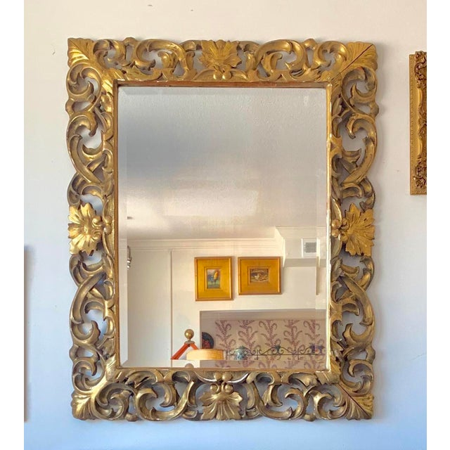Metal Antique Italian Gold Framed Mirror For Sale - Image 7 of 7