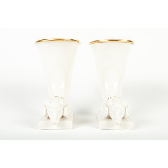 Vintage French Decorative Ram Horn Vases - a Pair For Sale - Image 4 of 5