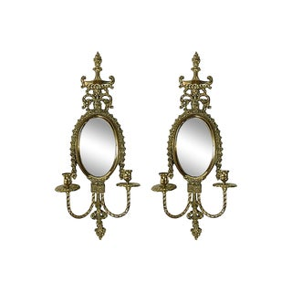 Empire-Style Mirrored Brass Sconces, Pair For Sale