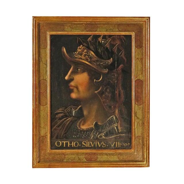 19th Century Grand Tour Italian Portrait Painting of Caesar on Panel For Sale
