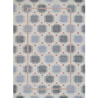 Mansour Modern Swedish Lantern Inspired Handwoven Wool Rug For Sale