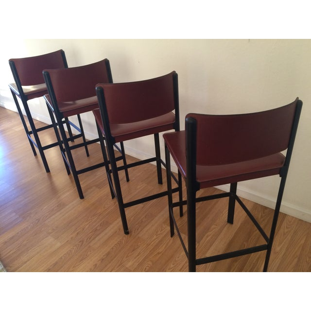 Matteo Grassi Sistina Leather Bar Stools Set of 4 For Sale In San Francisco - Image 6 of 9