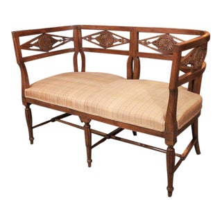 Antique French Fruitwood Settee, Directoire Style For Sale