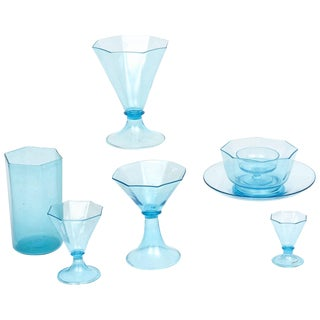 Extensive Blue Venetian Glass Service, 75 Pieces, Antique With Great Shape For Sale