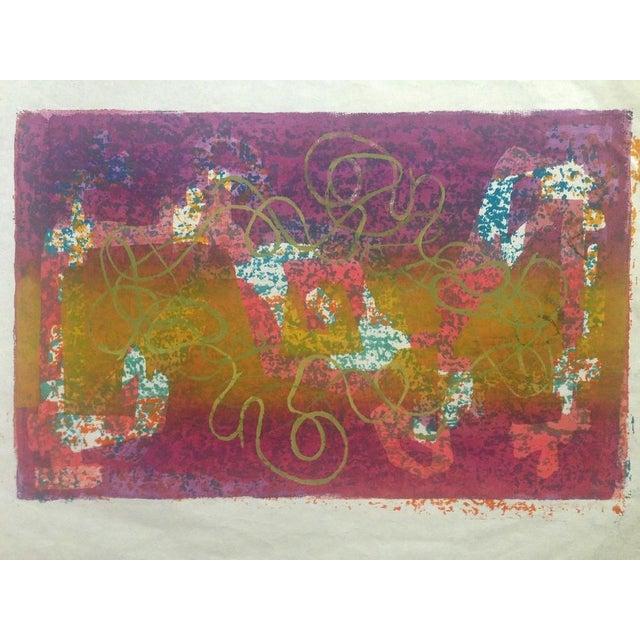 Mid-Century Abstract Silkscreen Estelle Siegelaub For Sale