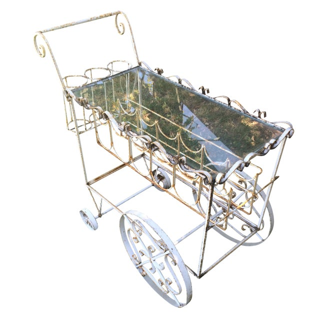 French Beverage Cart with Glass Top - Image 1 of 4