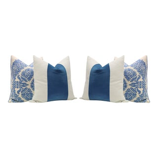 Linen Scroll Print & Cadet Blue Velvet Panel Pillows - Set of 4