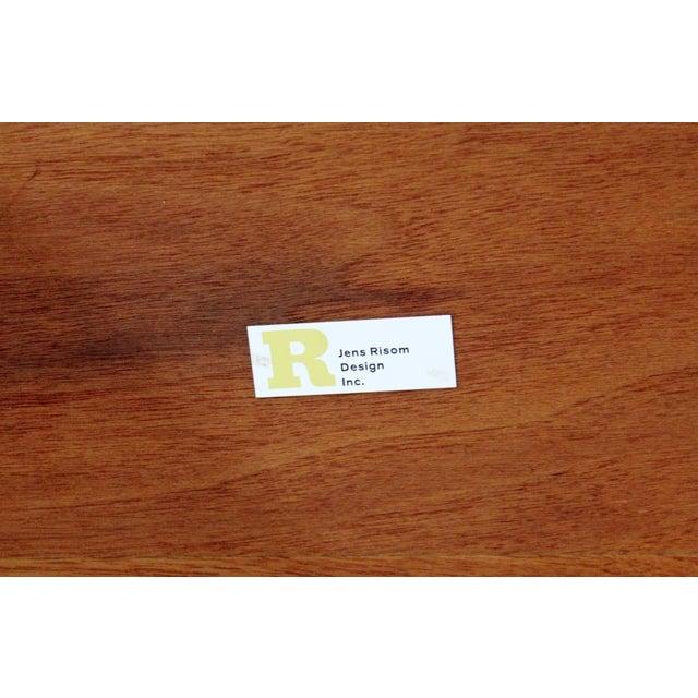 Pink Mid Century Modern Walnut Vinyl Nesting Side Tables Jens Risom Pink - Set of 3 For Sale - Image 8 of 9