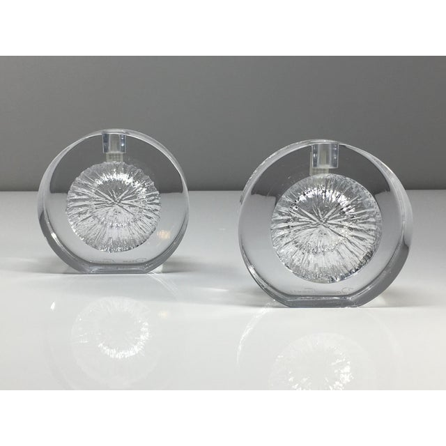 Vintage Daum France crystal candle holders in original gift box. Cratere pattern. Labels still intact and etched Daum...
