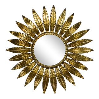 Spanish Gilt Metal Sunburst Ceiling Fixture With Frosted Glass For Sale