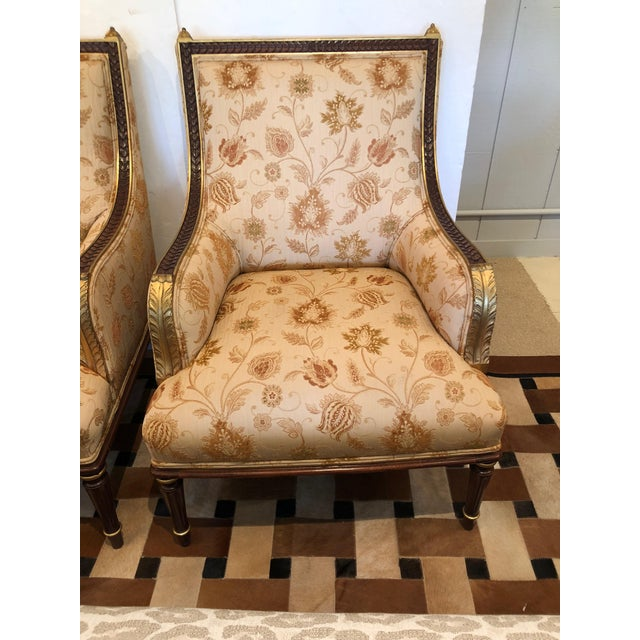 Lovely Pair of Carved Gilded Wood and Upholstered French Bergère For Sale - Image 10 of 13