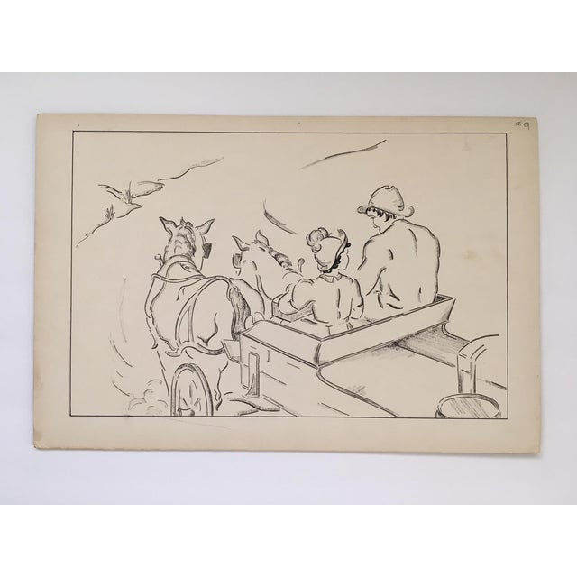 "Vintage ""Heidi - A Journey by Wagon"" Pen and Ink Drawing For Sale - Image 4 of 4"