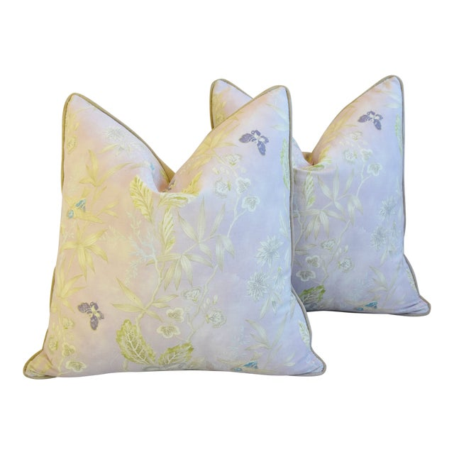 """Pale Lavender Wildflower & Butterfly Linen Feather/Down Pillows 23"""" Square - Pair For Sale"""