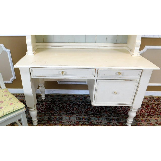 White Bradshaw Kirchofer White Hand Crafted Sweat Pea Desk w/ Scalloped Hutch & Chair For Sale - Image 8 of 9