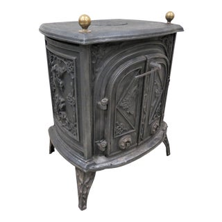 Vintage Italian Cast Iron Coal Stove or Wood Stove For Sale