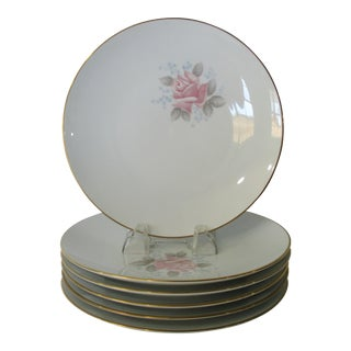 Vintage 1961-73 Noritake Roseville China Pink Rose With Blue Flower Accent Bread and Butter / Cake Plates - Set of 6 For Sale