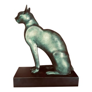 Egyptian Cat Bonded Bronze Sculpture From the Metropolitan Museum of Art For Sale