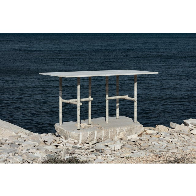 Original Ocean travertine desk by Clement Brazille Material : Ocean travertine stone Dimensions : 160 x 75 x 74 cm Signed...