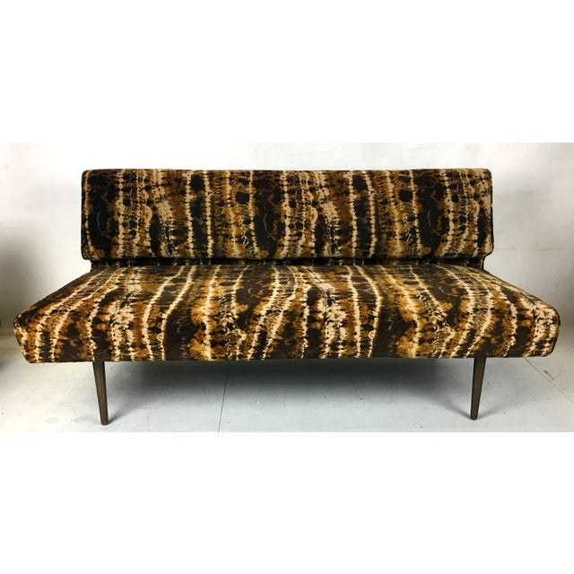 Mid-Century Modern Sofa or Bench With Brass Legs by Edward Wormley for Dunbar-Larsen Velvet For Sale - Image 3 of 8
