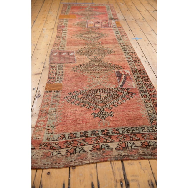 "Vintage Distressed Patchwork Oushak Rug Runner - 2'10"" X 10'7"" For Sale - Image 10 of 12"