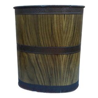 Vintage Metal Faux Wood With Dark Metal Banding Wastebasket For Sale