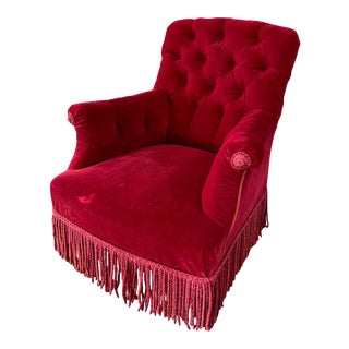 French Napoleon III Tufted Armchair in Red Velvet For Sale