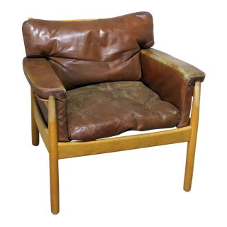 Danish Distressed Leather Club Chair For Sale