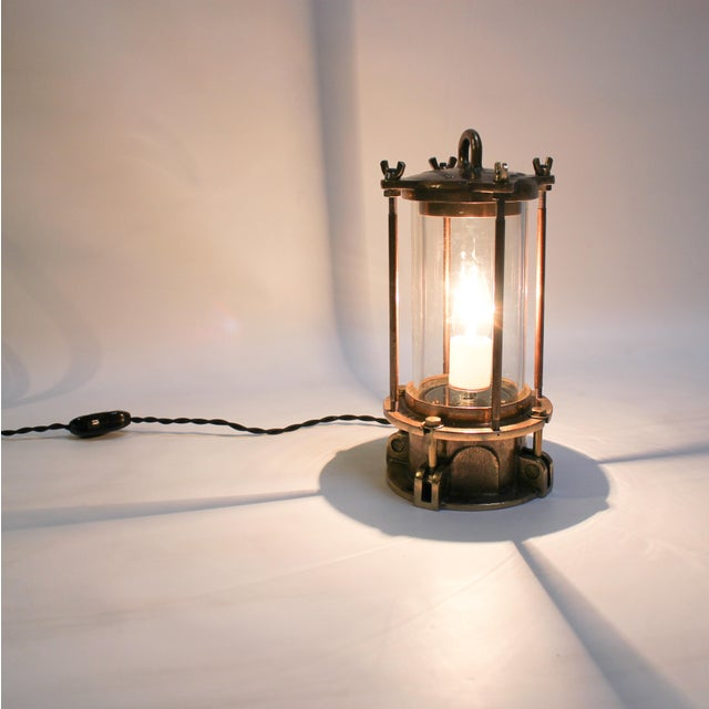 Cast Bronze Industrial Sight Glass Lamp - Image 4 of 10