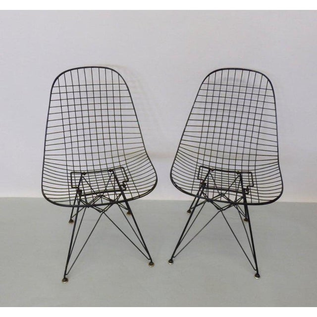 Contemporary Eames for Herman Miller DKR Wire Chairs on Eiffel Bases - Set of 4 For Sale - Image 3 of 7
