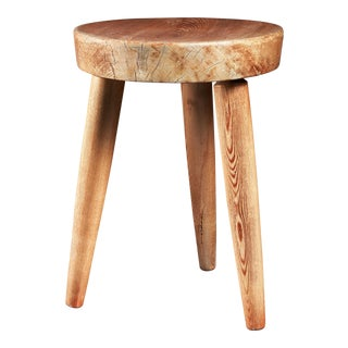 Charlotte Perriand tripod pine stool, France, 1950s For Sale