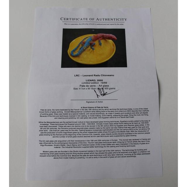 Authentic Rare Sculpture Pate De Verre Art Glass - Vide Poche Lizard For Sale - Image 5 of 6