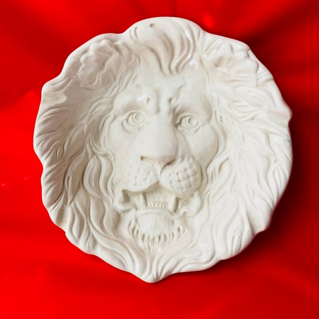 Rare Haeger 3d Lion Head Plate #2122 / White Ecru Egg Shell Absolutely Beautifully accented Lion Head Plate. Haeger...