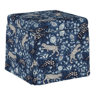 Dyer Storage Ottoman in Leopard Blue Oga For Sale