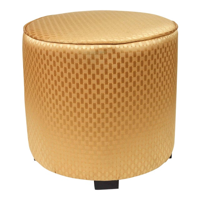 Pair of modern gold fabric Moroccan stools. Use it as a foot stool, pouf, extra seat or modern ottoman. Moroccan hassock,...