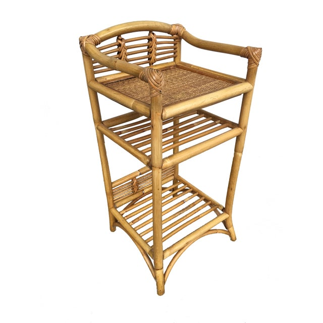Wicker Restored Mid-Century Rattan Three-Tier Book/Magazine Shelf For Sale - Image 7 of 7