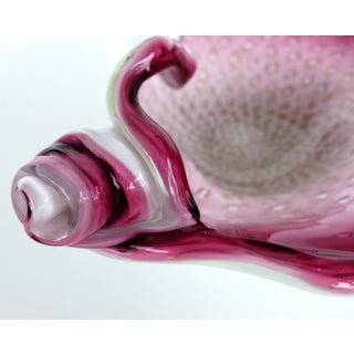 Murano Art Glass Bowl w/ Bubbles in Cranberry Preview