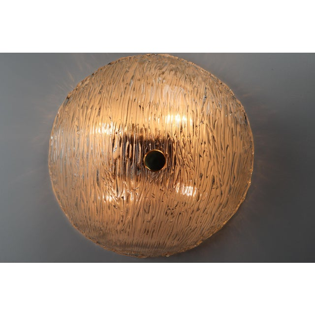 Mid 20th Century Round Modernist Textured Ice Glass Flush Mounts By Kalmar Austria For Sale - Image 5 of 12