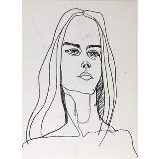 Portrait Study Drawing of Woman & Nude on Other Side For Sale