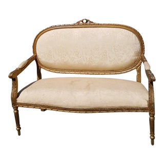 19th Century Louis XVI Ivory Upholstered Settee For Sale
