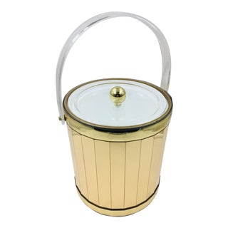 1970s Hollywood Regency Georges Briard Gold Mirrored Ice Bucket For Sale
