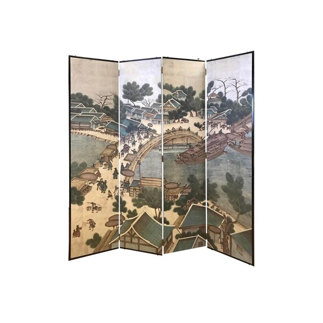 Vintage Chinese Hand Painted-Folding Screen Room Divider For Sale