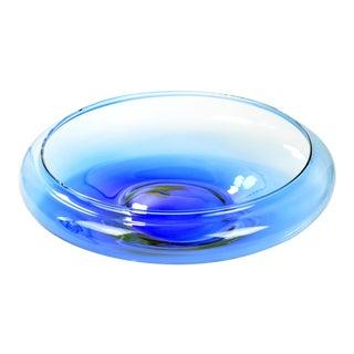 1990s Large Blue Glass Bowl Vidrios San Miguel, Spain For Sale